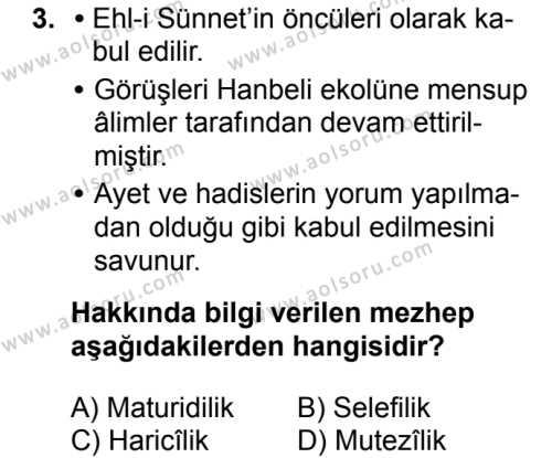 Kelam 2 Dersi 2017 - 2018 Yılı 2. Dönem Sınavı 3. Soru