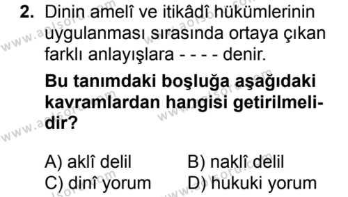 Kelam 2 Dersi 2018 - 2019 Yılı 1. Dönem Sınavı 2. Soru