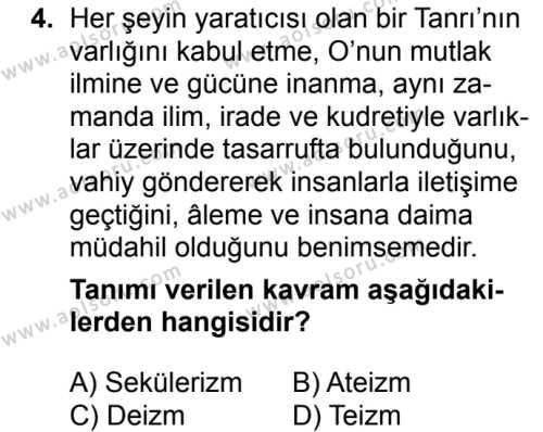 Kelam 2 Dersi 2018 - 2019 Yılı 1. Dönem Sınavı 4. Soru