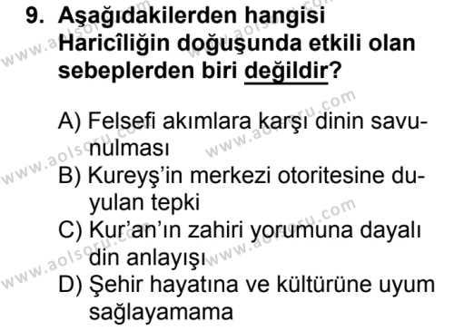 Kelam 2 Dersi 2018-2019 Yılı 1. Dönem Sınavı 9. Soru