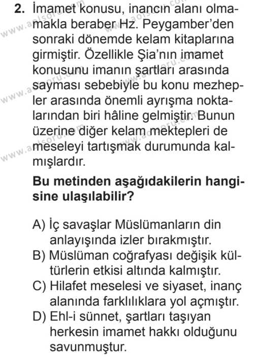 Kelam 2 Dersi 2018 - 2019 Yılı 2. Dönem Sınavı 2. Soru
