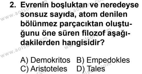 Kimya 1 Dersi 2013 - 2014 Yılı 3. Dönem Sınav Soruları 2. Soru