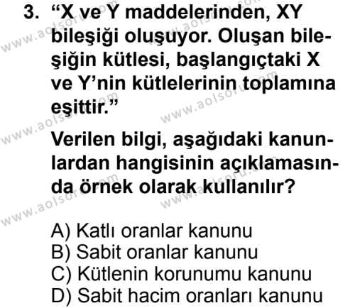 Kimya 1 Dersi 2013 - 2014 Yılı 3. Dönem Sınavı 3. Soru