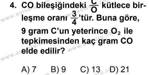 Kimya 1 Dersi 2013 - 2014 Yılı 3. Dönem Sınavı 4. Soru