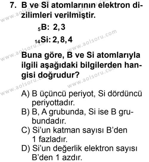 Kimya 1 Dersi 2014-2015 Yılı 1. Dönem Sınavı 7. Soru