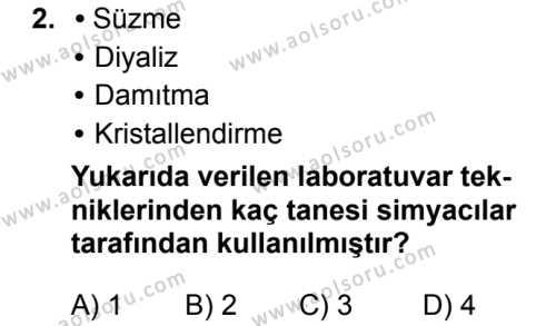 Kimya 1 Dersi 2017-2018 Yılı 1. Dönem Sınavı 2. Soru