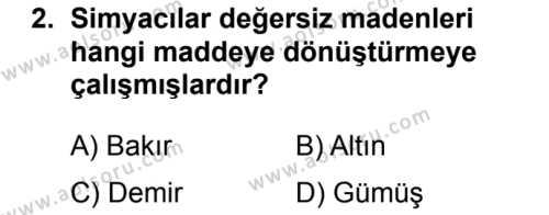 Kimya 1 Dersi 2017 - 2018 Yılı 2. Dönem Sınavı 2. Soru
