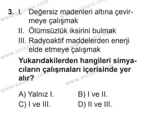Kimya 1 Dersi 2017 - 2018 Yılı 3. Dönem Sınavı 3. Soru