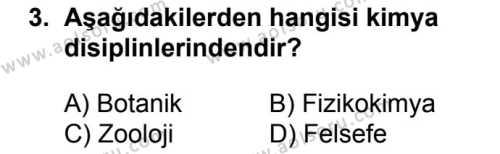 Kimya 1 Dersi 2018 - 2019 Yılı 1. Dönem Sınavı 3. Soru
