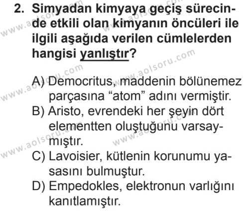 Kimya 1 Dersi 2018 - 2019 Yılı 2. Dönem Sınavı 2. Soru