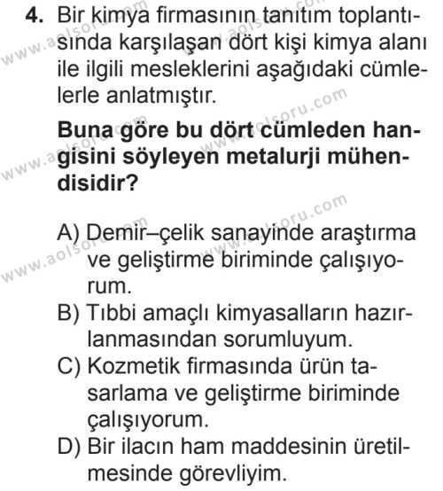 Kimya 1 Dersi 2018 - 2019 Yılı 2. Dönem Sınavı 4. Soru