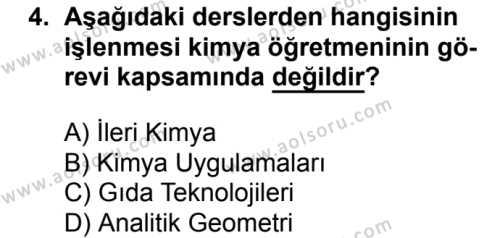 Kimya 1 Dersi 2018 - 2019 Yılı 3. Dönem Sınavı 4. Soru