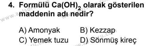 Kimya 1 Dersi 2019 - 2020 Yılı 2. Dönem Sınav Soruları 4. Soru