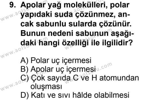 Kimya 2 Dersi 2014-2015 Yılı 1. Dönem Sınavı 9. Soru
