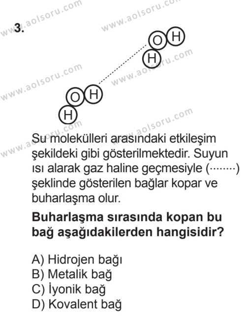 Kimya 2 Dersi 2017 - 2018 Yılı 3. Dönem Sınavı 3. Soru