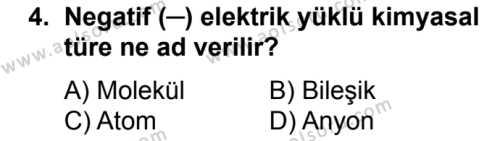 Kimya 2 Dersi 2017 - 2018 Yılı Ek Sınavı 4. Soru