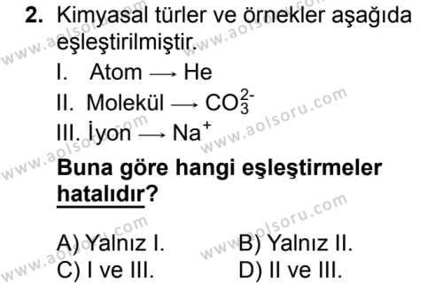 Kimya 2 Dersi 2018 - 2019 Yılı 1. Dönem Sınavı 2. Soru
