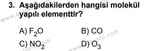 Kimya 2 Dersi 2018 - 2019 Yılı 1. Dönem Sınavı 3. Soru
