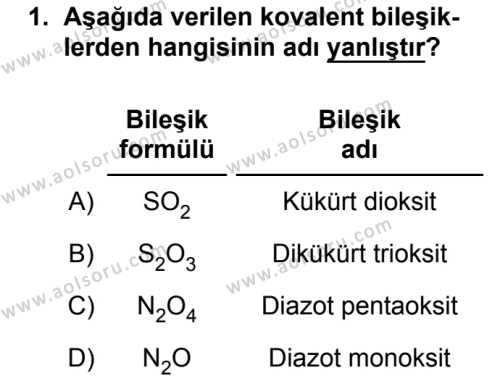 Kimya 2 Dersi 2018 - 2019 Yılı 3. Dönem Sınavı 1. Soru