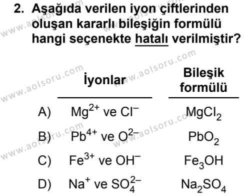 Kimya 2 Dersi 2018 - 2019 Yılı 3. Dönem Sınavı 2. Soru
