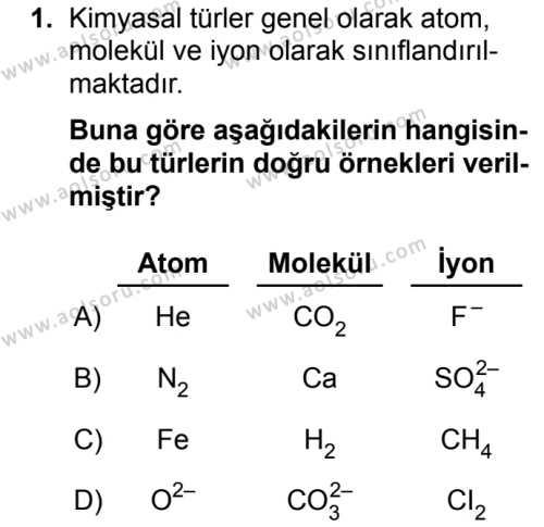 Kimya 2 Dersi 2019 - 2020 Yılı 1. Dönem Sınav Soruları 1. Soru
