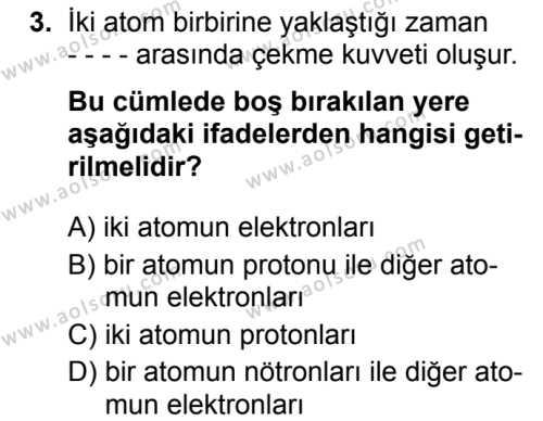 Kimya 2 Dersi 2019 - 2020 Yılı 2. Dönem Sınav Soruları 3. Soru