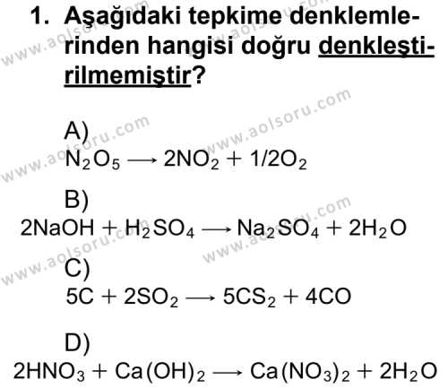 Kimya 3 Dersi 2011 - 2012 Yılı 1. Dönem Sınavı 1. Soru