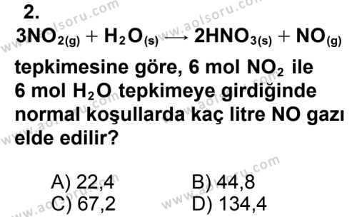 Kimya 3 Dersi 2011 - 2012 Yılı 1. Dönem Sınavı 2. Soru