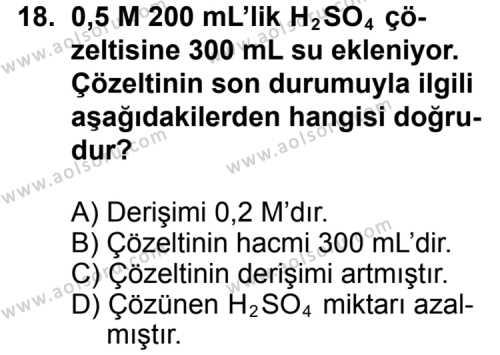 Kimya 3 Dersi 2011-2012 Yılı 1. Dönem Sınavı 18. Soru