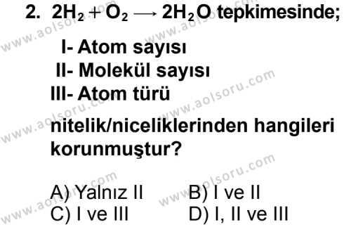 Kimya 3 Dersi 2011 - 2012 Yılı Ek Sınav Soruları 2. Soru