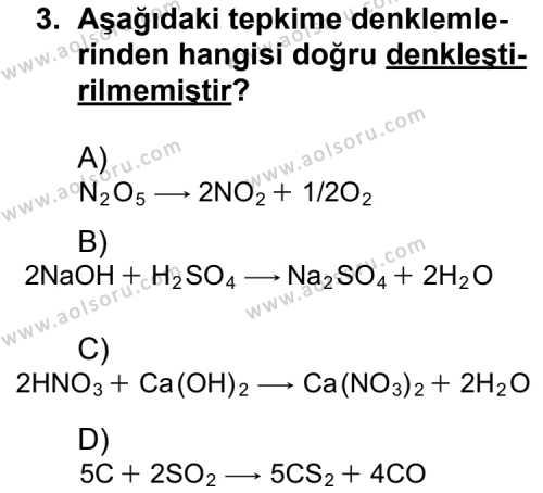Kimya 3 Dersi 2011 - 2012 Yılı Ek Sınav Soruları 3. Soru
