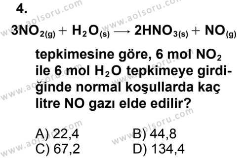 Kimya 3 Dersi 2011 - 2012 Yılı Ek Sınav Soruları 4. Soru