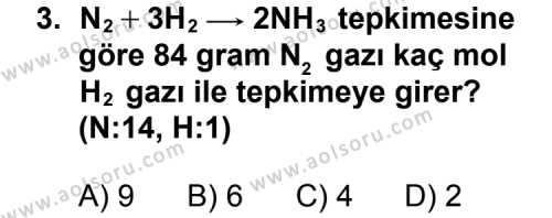 Kimya 3 Dersi 2012 - 2013 Yılı 1. Dönem Sınavı 3. Soru