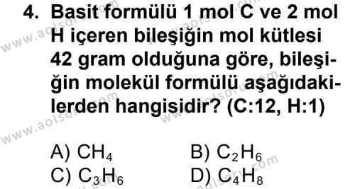 Kimya 3 Dersi 2012 - 2013 Yılı 1. Dönem Sınavı 4. Soru