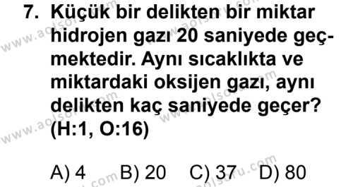 Kimya 3 Dersi 2012-2013 Yılı 1. Dönem Sınavı 7. Soru