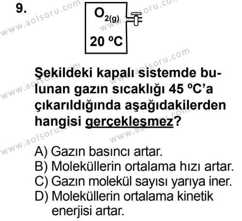 Kimya 3 Dersi 2012-2013 Yılı 1. Dönem Sınavı 9. Soru