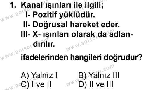 Kimya 3 Dersi 2013 - 2014 Yılı 1. Dönem Sınavı 1. Soru