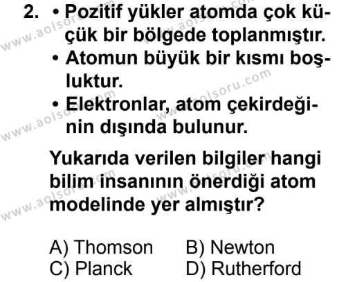 Kimya 3 Dersi 2013 - 2014 Yılı 1. Dönem Sınavı 2. Soru