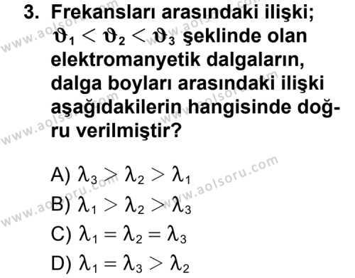 Kimya 3 Dersi 2013 - 2014 Yılı 3. Dönem Sınav Soruları 3. Soru