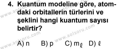 Kimya 3 Dersi 2014 - 2015 Yılı 1. Dönem Sınavı 4. Soru