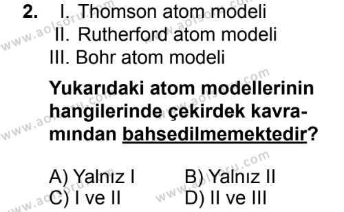 Kimya 3 Dersi 2014 - 2015 Yılı Ek Sınav Soruları 2. Soru