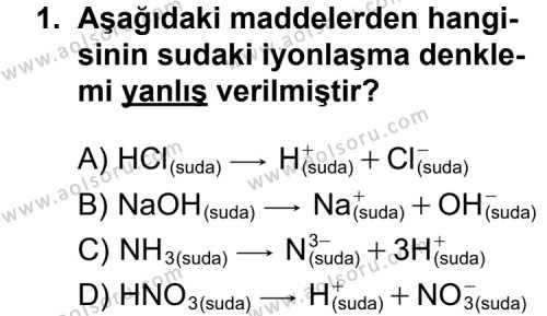 Kimya 3 Dersi 2015 - 2016 Yılı 1. Dönem Sınavı 1. Soru