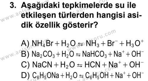 Kimya 3 Dersi 2015 - 2016 Yılı 1. Dönem Sınavı 3. Soru