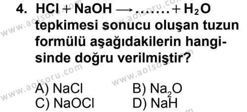 Kimya 3 Dersi 2015 - 2016 Yılı 1. Dönem Sınavı 4. Soru