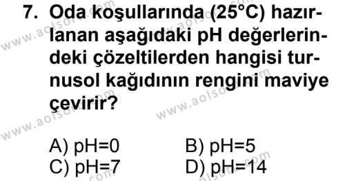 Kimya 3 Dersi 2015-2016 Yılı 1. Dönem Sınavı 7. Soru