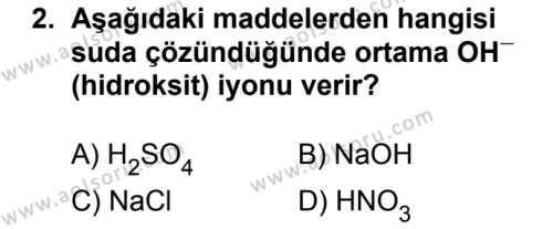 Kimya 3 Dersi 2017 - 2018 Yılı Ek Sınavı 2. Soru