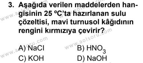 Kimya 3 Dersi 2017 - 2018 Yılı Ek Sınavı 3. Soru
