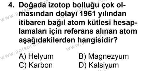 Kimya 3 Dersi 2018 - 2019 Yılı 1. Dönem Sınavı 4. Soru