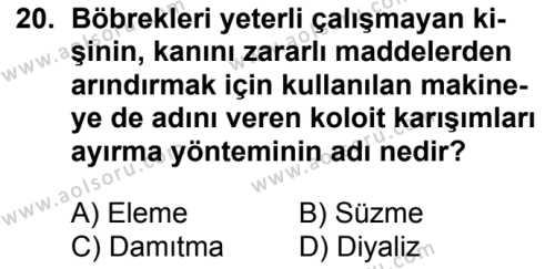 Kimya 3 Dersi 2018-2019 Yılı 1. Dönem Sınavı 20. Soru