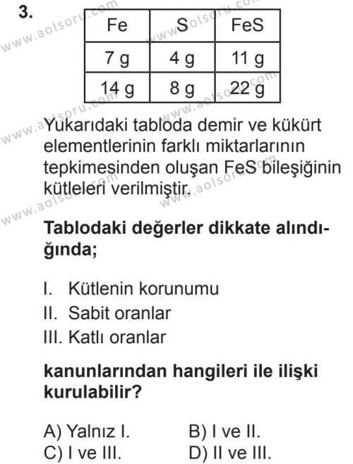 Kimya 3 Dersi 2018 - 2019 Yılı 2. Dönem Sınavı 3. Soru